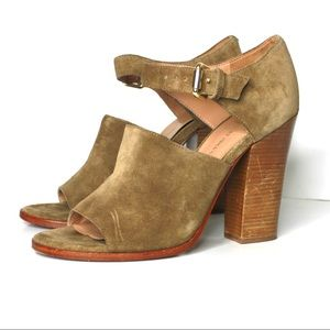 Vince Camuto Shoes - Vince Camuto Suede Ankle Strap Open Toe Stack Heel